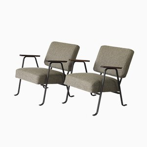 Steel & Wool Easy Chairs by Hein Salomonson for AP Originals, 1950s, Set of 2