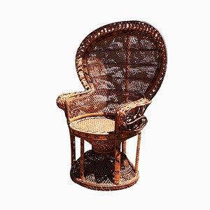 Chaise de Jardin Artisanales Vintage en Osier, 1970s