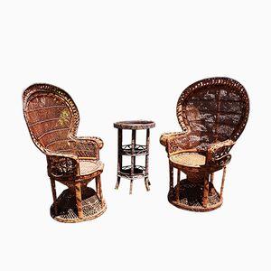 Vintage Hand-Crafted Wicker Garden Chair, 1970s