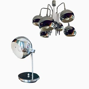 Juego de lámpara de araña y lámpara de mesa era espacial, años 70