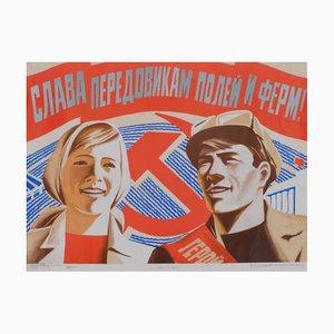 Póster de propaganda comunista de los trabajadores de la URSS, años 80