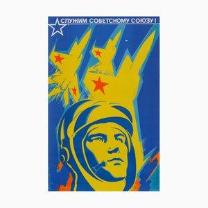 Póster de propaganda comunista de la URSS con piloto, años 70