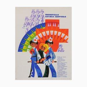 Póster de propaganda comunista del movimiento juvenil de la URSS, años 80