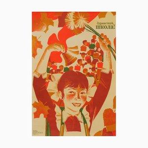 Póster de propaganda comunista de bienvenida a la escuela de la URSS, años 80