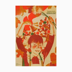 USSR Hello School Youth Movement Communist Propaganda Poster, 1989