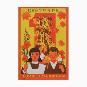 Affiche de Propagande des Enfants à l'École en Septembre de l'Union Soviétique, 1983