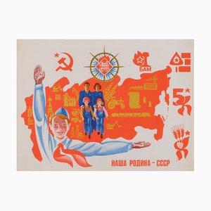 Póster comunista de propaganda con familia y niños de la URSS, años 80