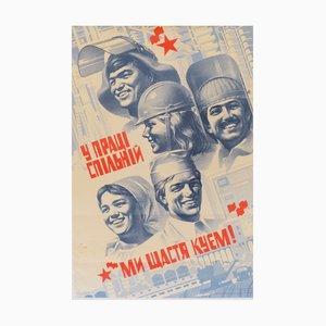 Affiche Communiste de Propagande sur les Travailleurs de l'Union Soviétique, 1986