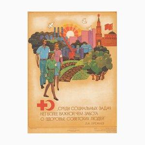 Poster vintage di propaganda comunista, URSS, 1977