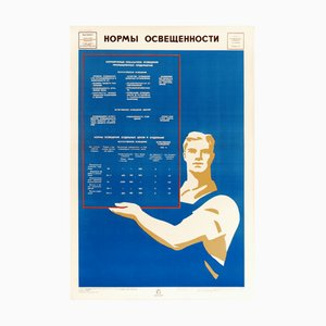 Vintage USSR Workers Lighting Poster, 1973