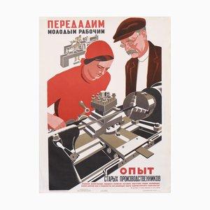 Póster vintage de la URSS con trabajadores, 1983