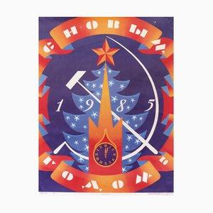 Affiche du Nouvel An des Travailleurs de l'Union Soviétique Vintage, 1984