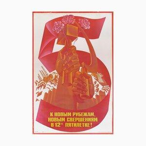 Sowjetisches Vintage Fünfjahresplan für Arbeiter Poster, 1986