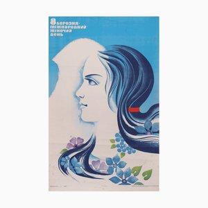 Póster vintage del día de la mujer de la URSS, 1982