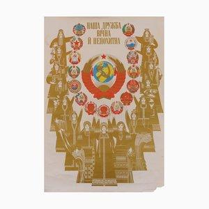 Affiche des Pays et de leurs Peuples de l'Union Soviétique Mid-Century