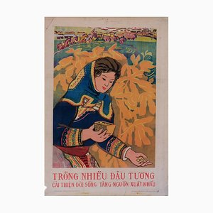 Vintage Vietnamese Farming Poster, 1981