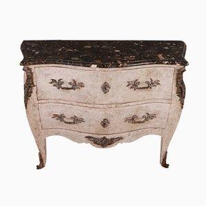 Antike französische Holzkommode mit Marmorplatte im Rokoko-Stil