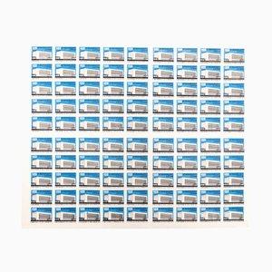 Lámina letona con 90 cubiertas de cajas de cerillas sin recortar, años 60