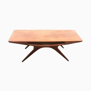 Vintage Danish Teak Veneer Smile Coffee Table by Johannes Andersen for CFC Silkeborg, 1950s