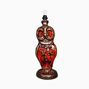 Large Lava Ceramic Owl Table Lamp, 1970s