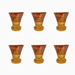 Crystal Amber Liqueur Glasses, 1920s, Set of 6