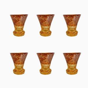 Vasos de licor de cristal ámbar, años 20. Juego de 6