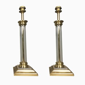 Modernist Brass and Glass Table Lamps, 1980s, Set of 2