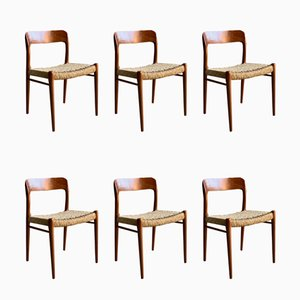 Danish Teak Model 75 Dining Chairs by Niels Otto Møller for J.L. Møllers, 1950s, Set of 6