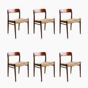 Danish Teak Model 75 Dining Chairs by Niels Otto Møller for J.L. Møllers, 1950s, Set of 6