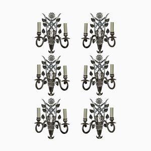 Französische Wandlampen aus geschliffenem Glas & Silber, 1960er, 6er Set