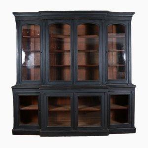 Antikes bemaltes Bücherregal mit Flügeltüren, 1850er