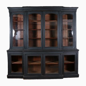 Antique Painted Breakfront Bookcase, 1850s
