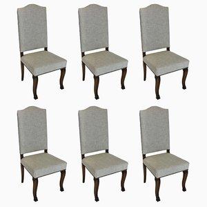 Antike Französische Esszimmerstühle aus Stoff und Holz, 6er Set