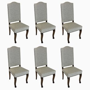 Antique French Fabric and Wood Dining Chairs, Set of 6