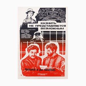 Póster de la URSS vintage de la película Paper, 1982
