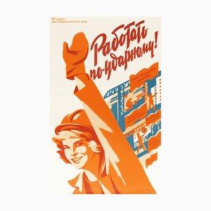 Póster de propaganda del Partido Comunista vintage de la fiesta mujer trabajadora de la URSS, años 80