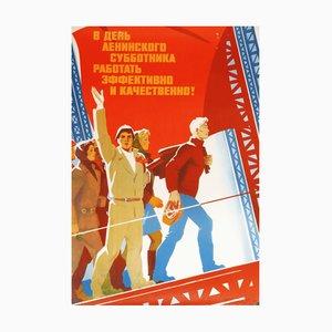 Póster de propaganda del Partido Comunista vintage con mujeres trabajadoras de la URSS, 1986