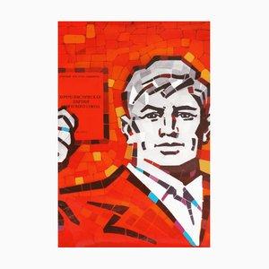Vintage UdSSR kommunistische Partei Theoriebuch Propagandaposter, 1980er