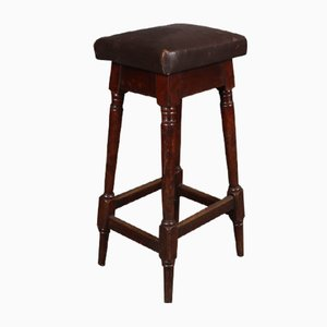 Antique Leather and Mahogany Bar Stool, 1890s