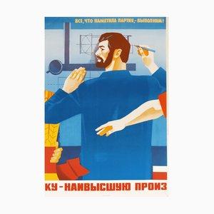Póster de propaganda docente del Partido Comunista de la URSS vintage, 1986
