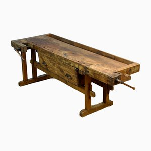 Deutscher antiker industrieller Werktisch aus Eichenholz
