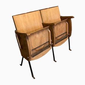 Mid-Century Italian Beech 2-Seater Cinema Bench, 1950s