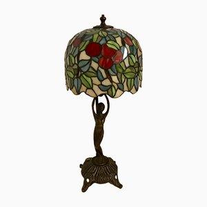 Lampada da tavolo Tiffany Mid-Century in bronzo e resina, Italia, anni '50