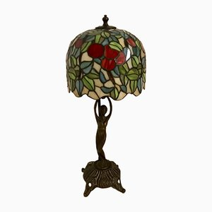 Mid-Century Italian Bronze & Resin Tiffany Table Lamp, 1950s
