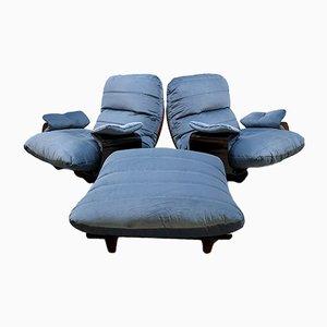 2er Set Marsala Sessel aus Kunststoff & Samt von Michel Ducaroy für Ligne Roset, 1970er, 2er Set