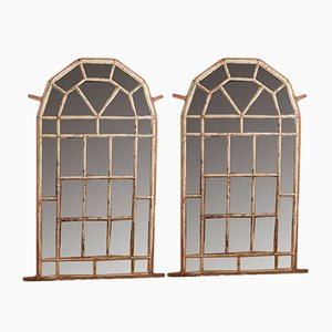 Antique Metal Window Style Mirrors, Set of 2