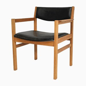 Mid-Century Danish Leather and Oak Armchair by Eric Wørtz for FDB, 1968
