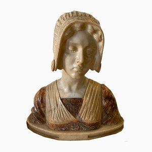Antique Art Nouveau Italian Marble Bust by Alcione Gubbellino