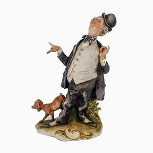 Statuette Gentleman with Dog Vintage par Giuseppe Cappè