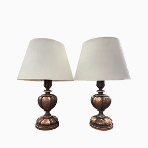 Mid-Century Textile and Wood Table Lamps, Set of 2